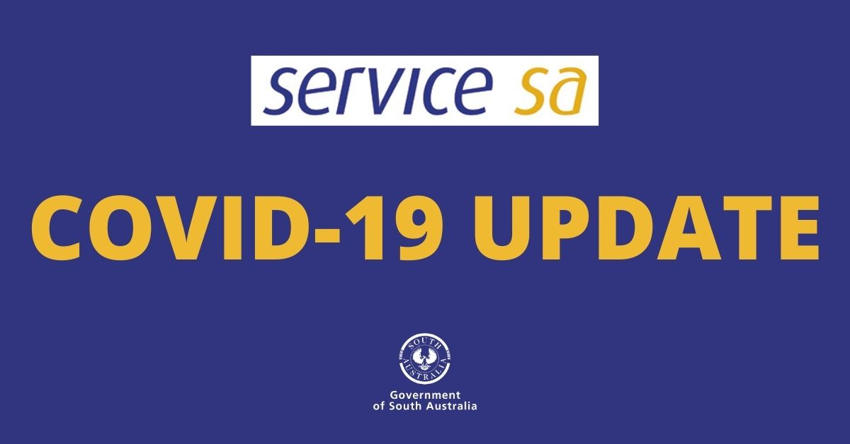 A horizontal graphic with a purple background and the words Service SA COVID-19 update