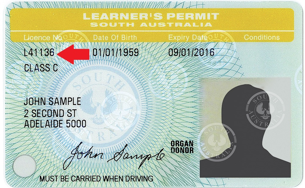 Learners permit image with arrow