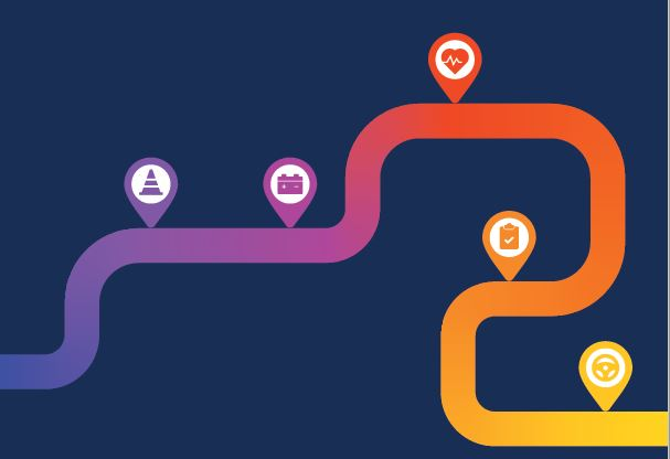 a stylised road with bends in it. It changes in colour from putple to pink to red to orange to yellow. Along the road are icson which, from left are a witch's hat, a car battery, a  heart graph, a clipboards and a steering wheel. The grpahic is rectangular and the background is dark blue.