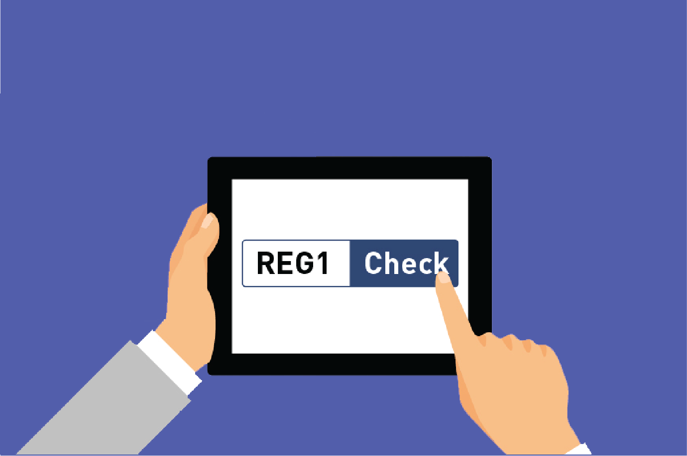 """A graphic showing two hands holding a tablet computer. A finger is on a button on the screen which is in two parts. The first part says """"Reg"""" and the second part, with the finger hovering over it, says """"Check""""."""
