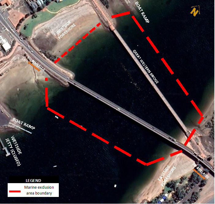 An aerial shot of the current bridge and duplication site and surrounds with a red line marking the exclusion zone.